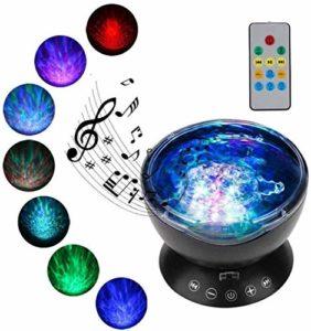 Xiaoyue Projector Lamp Night Light, 12 LED 7 Couleur Ocean Night Light projecteur, Lampe de Projection avec télécommande intégrée Lecteur de Musique, Cadeau for Les Enfants Anniversaire de Noël lalay