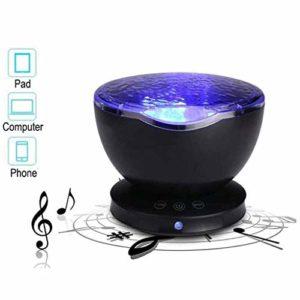 Xiaoyue Veilleuse Projecteur, projecteur océan intégré Mini Music Player 7 Couleurs LED Romantique Night Light lalay