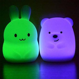 7 Couleurs Ours Lapin LED USB Veilleuse Animal Silicone Doux Dessin Animé Enfants Lumière de Nuit Led Cadeau de Noël