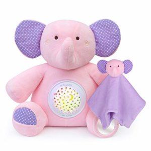 APUNOL Veilleuse Bébé Musicale et Lumineuse Rechargeable Peluche Bebe Éléphant Projecteur pour dormir lampe de projection enfants avec Fonction de Capteur de Cris, Projection de Lumière