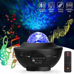 BREEZE Nuit Star Light projecteur, 2 en 1 Ocean Wave Projecteur avec Musique, Starry Lampe Télécommande minuterie et Haut-Parleur Bluetooth