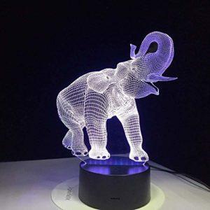 DSSDD Veilleuse 3D pour enfants en forme d'éléphant Toucher Lampe de nuit Incroyable 3D Illusion LED Lampe de table Veilleuse avec animal 7 couleurs Changement de couleur Cadeau de Noël