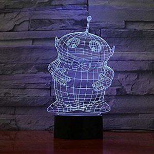 FENSHAN 3D Illusion d'optique Coon tactile LED Table lampe de bureau 7 couleurs changeantes chargeur USB alimenté interrupteur tactile bureau veilleuse pour enfants