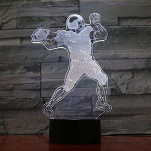 FENSHAN 3D Illusion d'optique Joueur de rugby 5V Lava Rugby Fan de football mignon 7 couleurs Veilleuse pour enfants garçons et filles comme cadeaux parfaits pour les anniversaires ou les vacances
