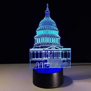 FENSHAN 3D Optical Illusion Night Light White House Laser Carv 7 couleurs veilleuse pour enfants garçons et filles comme cadeaux parfaits pour les anniversaires ou les vacances