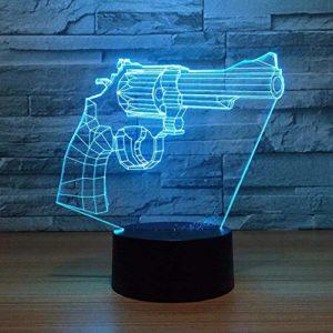 FENSHAN 3D veilleuse nouveau pistolet revolver ara e 7 couleurs capteur chambre décoration chambre lumières LED veilleuses pour enfants enfants bébé