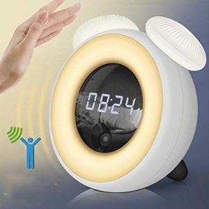 Hhxiao Réveil Numérique Réveil Snooze Réveil Veilleuse Intelligent Capteur En Forme de Champignon Lampe LED Lampe de Chevet Avec Réveil Numérique