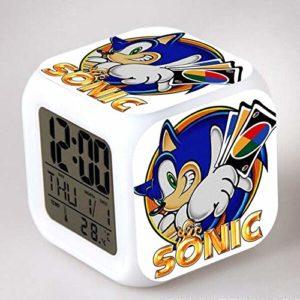 JXAA LED réveil Queue Montre reloj despertador Horloge numérique Robotnik Montre numéro Sept Couleurs Flash numérique réveil veilleuse