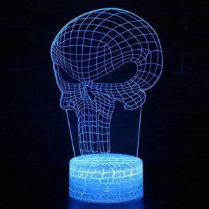 Lampe à Illusion 3D LED Illusion Lampe LED Punisher Modèle Veilleuse pour Chambre d'enfants Décoration Creative Cadeau Lampes@Blanc_Base_3Colors_Carck_Base