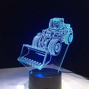 LPHMMD Lumière de Nuit Pelle Bulldozer Machine lampe 3D LED Veilleuse 7 Couleurs Changement d'Atmosphère Tactile Lampe Vision Acrylique Lampe