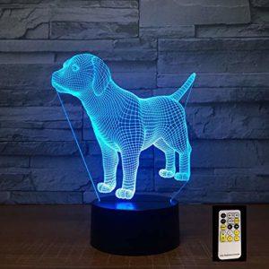 LPHMMD Veilleuse à distance pour chiot – Lampe 3D 7 couleurs – Lampe de nuit LED pour enfants – Table USB – Lampe de nuit pour bébé