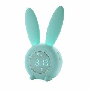 LRIFUE Réveil pour enfants avec minuterie à induction avec veilleuse pour tout-petits 6 sons et charge USB 2000 mAh Batterie rechargeable Cadeau parfait pour les enfants, garçons, filles
