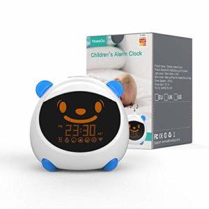MoesGo Réveil/veilleuse intelligent pour enfants, avec éclairage, sons et expressions, compatible avec les systèmes Alexa et Google Home (Bleu)