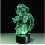 NewbieBoom Tortue avec lunettes de soleil 3D LED Veilleuse de nuit 7 couleurs changeantes de lumière tactile pour enfants