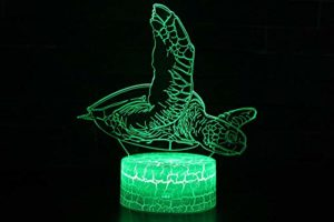 Nouveauté 3D Illusion Lampes LED Veilleuse USB 7 Couleurs Capteur Lampe de Bureau pour Enfants Cadeaux d'anniversaire De Noël Décoration de La Maison Tactile Interrupteur Veilleuse Tortue de mer