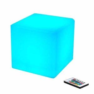 QAZX Intérieur et extérieur rechargeable changement de couleur de contrôle-LED Mood Cube à distance Lumières (16 couleurs RGB) imperméable à l'eau des ménages Décoration Veilleuse Chambre enfant Table