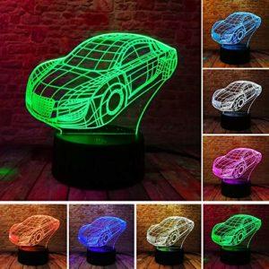 RMRM 7 Couleurs 3D Veilleuse de Voiture LED 7 Couleurs Variation de la Maison de Nuit Décoration de Chambre de Bébé Anniversaire Lampe de Fête Enfants Jour de Noël Cadeaux