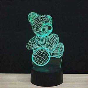 Veilleuse 3D Mignon Ours Hugging Coeur Illusion Lampe 7 Couleurs Changement Télécommande Tactile USB et Fonctionne avec Piles Jouet Lampe Décorative pour Garçons Filles Cadeaux