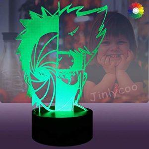 Veilleuse Naruto,Hatake Kakashi Uchiha obito,Lampe LED 3D,Multicolore USB,Télécommande,Illusion Lumière,Décor de chambre,Lampe de bureau,Anniversaire de Noël Jouet pour enfants (Kakashi Obito)