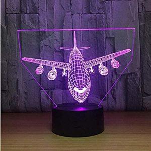 Veilleuse pour enfants avions 3D LED veilleuse à distance 7 couleurs d'intérieur Décoration pour enfants filles garçons Cadeau de Noël Style 1 LED 3D Illusion d'optique lampes @Style 3