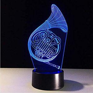 Veilleuse pour enfants Instrument de musique 3D LED Nuit Lumière Tactile 7 Couleurs Décoration d'intérieur Enfants Filles Garçons Cadeau de Noël 4 LED Illusion Optique Lampe @3