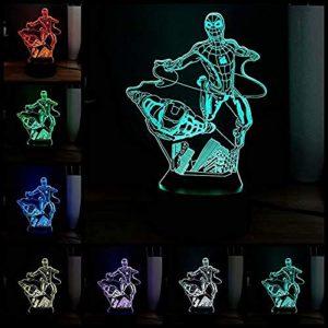 Veilleuse pour enfants Marvel Hero Série 3D Lumière de nuit LED à distance 7 couleurs Décoration d'intérieur Enfants Filles Garçons Cadeau de Noël Style 7 Smart Home Night Lights @Style 7