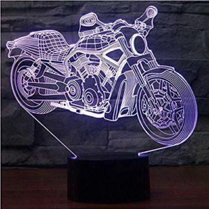 Veilleuse pour enfants moto 3D lumière de nuit LED tactile 7 couleurs Décoration d'intérieur enfants filles garçons cadeaux de Noël 1 LED Illusion optique lampe @7