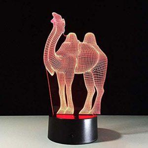 Veilleuses LED 3D Illusion Lampe de table 7 couleurs tactile (télécommande) Changement automatique pour chambre de bébé Décoration de chambre d'enfant Cadeau de Noël Camel (télécommande) Cadeau parfait pour les enfants @Remote_Contr