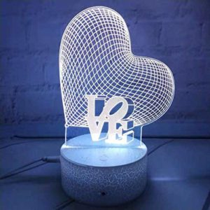 Vision Fantôme Led, Contrôle Tactile, Avec Fonction De Télécommande, Anniversaire Des Enfants, Cadeaux De Noël 3D Créatif Acrylique Coloré Amour Le Veilleuse Chambre Chevet Décoration Lumière Led