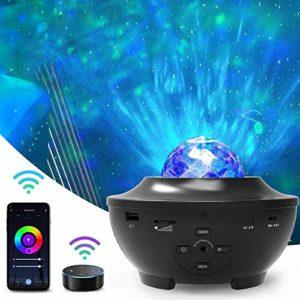 Wifi Smart Projecteur Ciel Étoile, Amouhom Veilleuse Enfant Lampe de Rotatif Vidéoprojecteur de Nuage,Télécommandées, avec Alexa et Google Home pour les fêtes de Noël, de pâques ou d'Halloween…