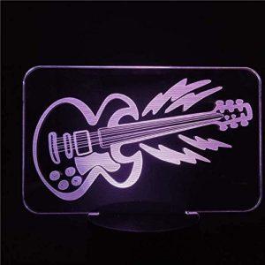 ZWANDP Lampe LED 3D Veilleuse 3D Rock Guitare LED Veilleuse 3D pour Table LED Lampe de nuit pour chambre à coucherLED Veilleuse décorative