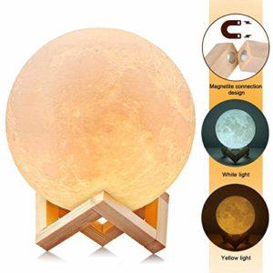 AGM 3D Lampe Lune Enfant Veilleuse Led Tactile 2 Modes Pour décoration Noël /Chambre enfant /Cadeau Noël -15CM
