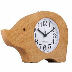Alarm clock Éléphant en Bois Réveil Muet Sieste Réveil avec Veilleuse Décoration Étudiant Chambre Lit