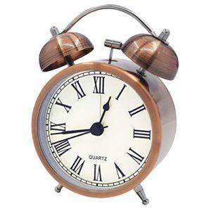 Coolzon® Reveil Double Cloche Rétro Alarme Fort sans Tic Tac fonctionnant sur Batterie Chevet avec Veilleuse, Analogique Silencieuse réveil pour Chambre à Coucher, Salon, Cuisine