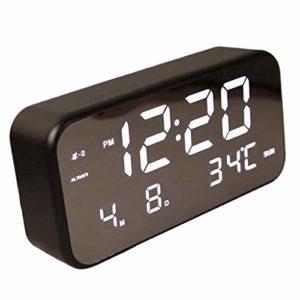 Fenteer Horloge De Chevet Réveil Musique Réglable LED Affichage De Calendrier Blanc/Noir – Black_White Light