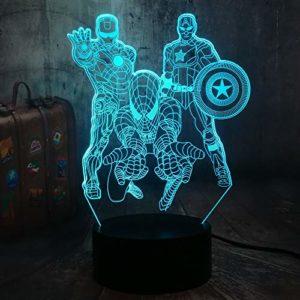 La veilleuse Avengers, Lampe de chevet Marvel 3D Illusion Marvel Comics Homme de fer homme araignée Capitaine Amérique Veilleuse pour enfants de Noël Télécommande Lampe de bureau Décor(Les Vengeurs)