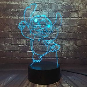 Lampe Lilo & Stitch Veilleuse de dessin animé 3D Princesse Lampe de chevet de chambre USB Télécommande 16 Colors Stitch Décor de chambre de bébé Cadeau d'anniversaire et de vacances(Dancing Stitch)…