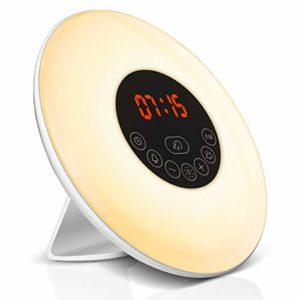 Lumière de Réveil, Elfeland Multifonctionnel Lampe de Réveil ( Réveil Créatif, Fonction Radio FM, Fonction Snooze, Simulateur du Lever/Coucher de Soleil Fonction) parfait pour les Actions de Nuit