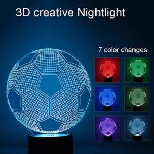 lzndeal 3D Veilleuse de nuit de football USB 7 couleurs changeantes Lampe de football Lampe pour chambre à coucher Décoration enfants Cadeau d'anniversaire d'anniversaire
