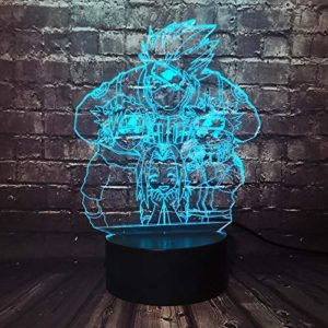 Naruto Lampe 3D veilleuse enfant Alimenté Par Batterie Pour Enfants Chambre Veilleuse Télécommande Kakashi Naruto Sasuke Sakura Lampe Cadeau Pour fan de Naruto Décor de chambre de garçon(4 Naruto)