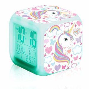 N/C Réveils numériques Licorne pour les filles,Réveil Numérique Licorne pour Enfants Multicolore Cube LED de Nuit Horloge de Chevet pour Enfants Cadeau Anniversaire