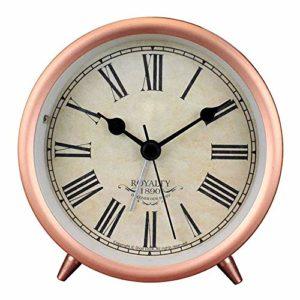 Réveil rond en métal doré porte-bonheur – Réveil ultra silencieux – Réveil de bureau avec veilleuse de nuit, bureau, placard, chevet de voyage – 9,7 x 5,2 x 9,7 cm