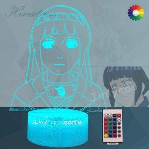 Veilleuse Hinata 3D optique,Lampe acrylique Naruto Anime Figures pour enfants,Télécommande,Base Crackle 16 couleurs,Décor de chambre de bébé,Cadeau de Noël Naruto,Sasuke,uchiha itachi (Crack Hinata)