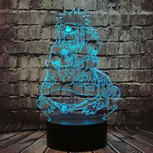 Veilleuse Jiraiya Figures d'anime Lampe Naruto Télécommande Le professeur d'Uzumaki Naruto Luminosité réglable Lampe d'ambiance de chevet Fête jouet de vacances pour les fans de Naruto (Jiraiya)