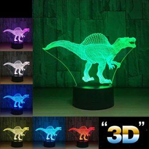 Veilleuses Dinosaure 3D Illumination Optique Veilleuse pour Femmes Hommes Adolescents Enfants, Lampe de Table à Changer de Table Tactile 7 Changement de Couleur pour Chambre d'enfants, Chargeur USB Ni