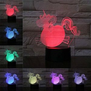 ZWANDP 3D veilleuse Animal cheval licorne lampe Illusion enfants lampe à LED multicolore Lampara éclairage Flash humeur Table bureau chambre