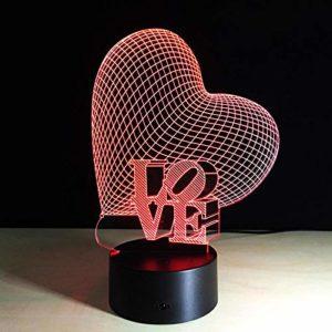3D Lampes Illusions Optiques amour Led Veilleuse 16 Couleurs Télécommande Lampe Chambre Chevet Table enfants Fille Fils Cadeau Noël Fête Anniversaire Romantique