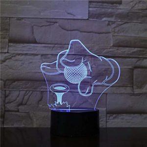 Balle de golf 3D LED veilleuse 7 couleurs changeantes interrupteur tactile lampe de table USB comme décoration de la pièce