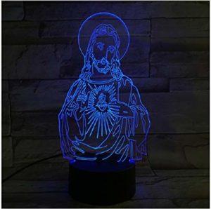 Bienheureuse Vierge Marie 7 couleurs 3d LED veilleuses pour enfants tactile LED Usb lampe de Table bébé sommeil lumière que Dieu vous bénisse pas de contrôleur