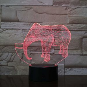 Glissières 3D en forme d'éléphant d'animaux sauvages, lampe de table acrylique multicolore pour veilleuse LED